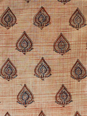 Beige Block Printed Cambric cotton-1.5 m