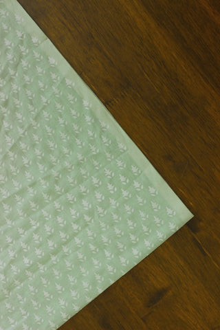 Light Green block printed cambric cotton