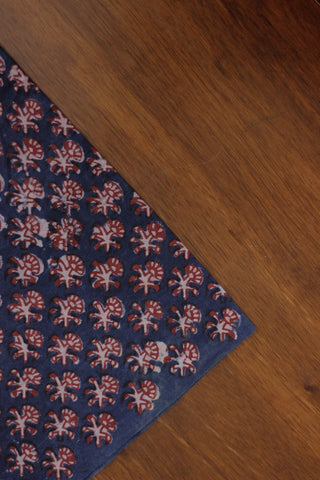 Indigo with rust red block printed cotton