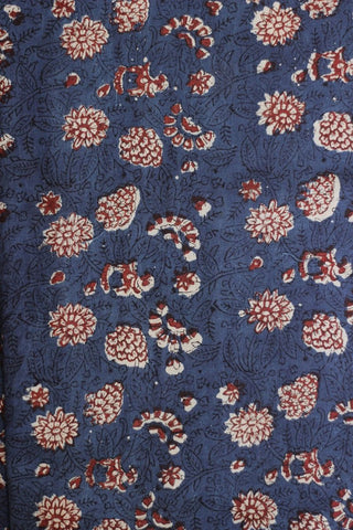 Indigo block printed khadi cotton fabric