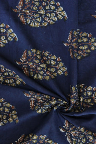 Intricate leaves on indigo block printed fabric