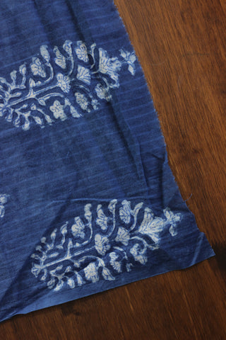 Indigo dabu print cambric cotton fabric