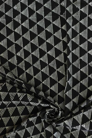 Black with Off White Triangle Block Printed Cotton Fabric