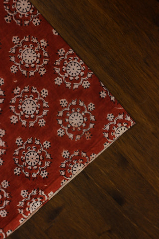 Red with beige block printed cotton fabric
