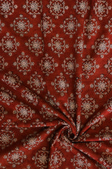 Red with beige block printed cotton fabric - 2m
