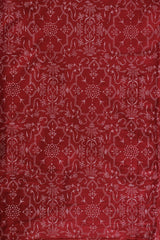 Red with white block printed cambric cotton
