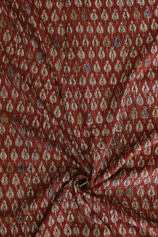 Red with gold block printed cotton fabric