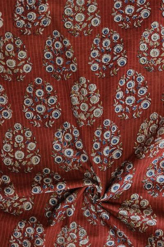 Rust Red with Gold Print Floral Block Printed Cotton Fabric