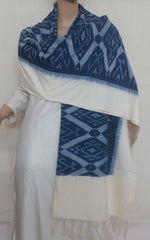 Off White with Blue Diamond Handwoven Ikat Dupatta