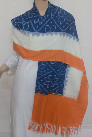 Blue Flower with Off White Temple Border Handwoven Ikat Dupatta