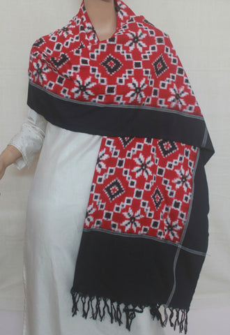 Bright Red with Black Diamond Checks Telia Rumal Ikat Dupatta