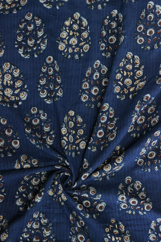 Indigo block printed fabric with hint of gold