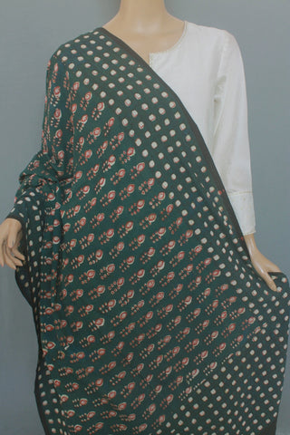 Moss Green with Maroon Printed Khadi Cotton Dupatta