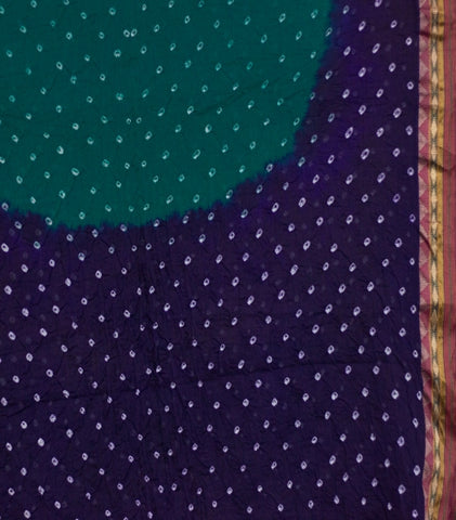 Bluish Green Tie and Dye Bandhani Saree