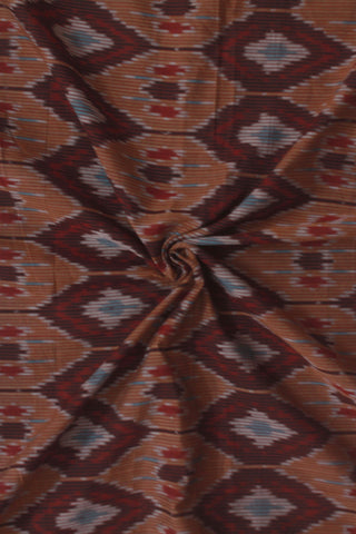Maroon with Brown Diamond Handwoven Ikat Fabric