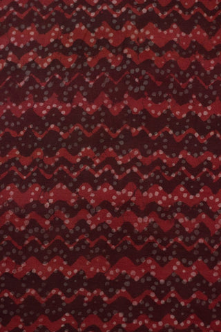 Red with Maroon Waves - Block Printed Cambric cotton