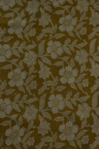 Yellow Floral Textured Block Printed woven cotton