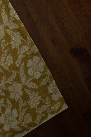 Yellow Floral Textured Block Printed Handwoven Cotton Fabric