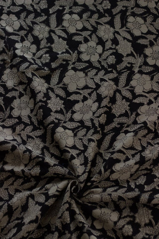 Black with Beige Textured Block Printed cotton