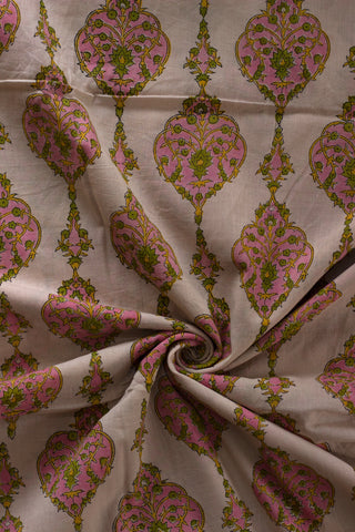 Pink with Peach Sanganeri Hand Block Printed Cotton Fabric