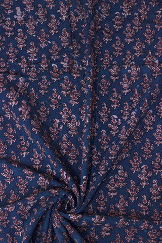 Indigo with Maroon Floral Bagru Block Printed Cotton Fabric-2 m