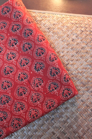 Ajrak Block Printed Cotton Fabric-0.7 m