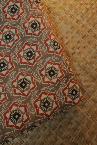 Ajrak Block Printed Cotton Fabric-2.4 m