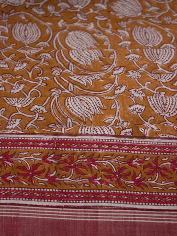Lotus Block Printed Khadi Saree