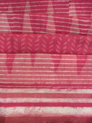 Pink Dabu Print Temple Border Chanderi Saree