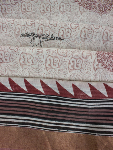 Calligraphy Tree Sanganeri Print Chanderi Saree