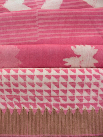Pink with White Dabu Print Chanderi Saree
