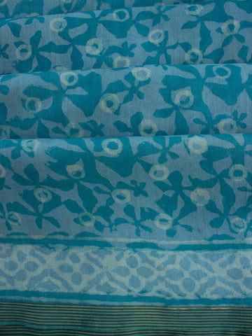 Light Blue Dabu Print Chanderi Saree