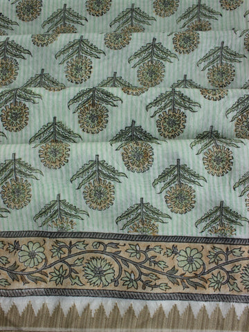Light Green Sanganeri Print Chanderi Saree