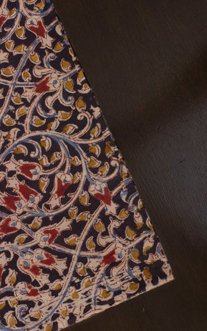 Black with Mustard Floral Block Printed Kalamkari Fabric
