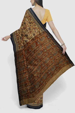 Beige with Maroon Floral Printed Kalamkari Khadi Cotton Saree
