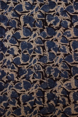 Indigo Leaves Block Printed Kalamkari Fabric