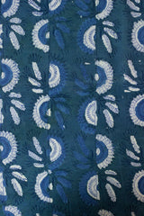 Subdued Green with Half Circles Bagru Block Printed Cotton Fabric - 1.3m