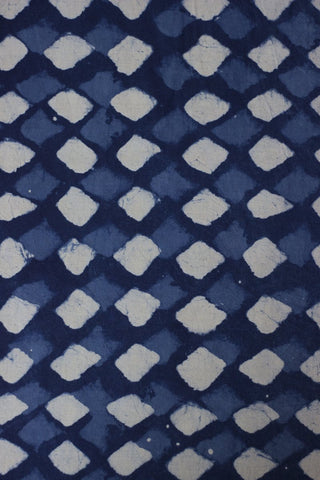Indigo with Off White Diamond Block Printed Cotton Fabric