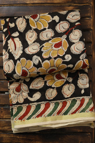 Elephants in Black Floral Painted Kalamkari Chanderi Silk Cotton Saree