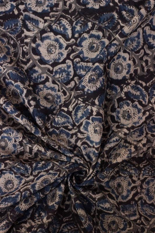 Black with Indigo Block Printed Kalamkari Fabric