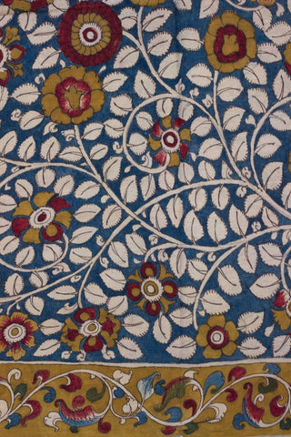 Fenugreek Floral Hand Painted Bordered Kalamkari Fabric