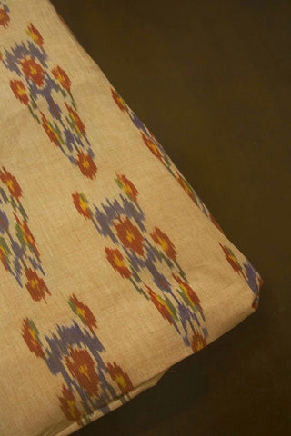 Beige with red and Blue Handwoven Ikat Fabric