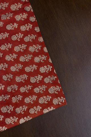 Rust Red with Beige Bagru Block Printed Cotton Fabric