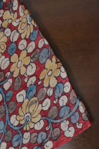 Florals in Maroon Hand Painted Tussar Silk Kalamkari Fabric