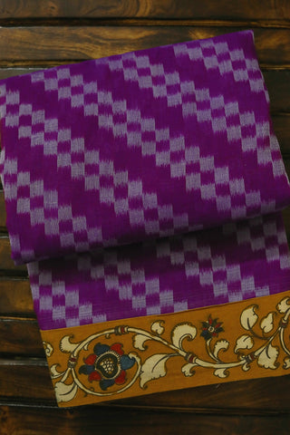 Purple with yellow Ikat Kalamkari Saree