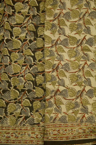 Grey with Olive Green Peepal Leaves Hand Printed Kalamkari Saree