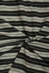 Black with White Lines Ikat Cotton Fabric