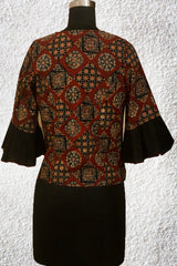 Maroon with Black Squares Ajrak Fabric Crop Top