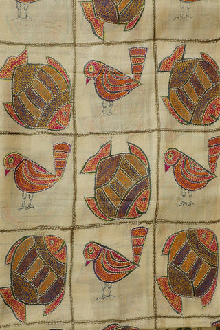 Bird and Fish Full Work Kantha Tussar Silk Blouse