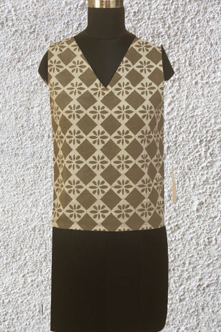 Squares in Grey and Off White Ajrak Fabric Stitched Blouse without Sleeve